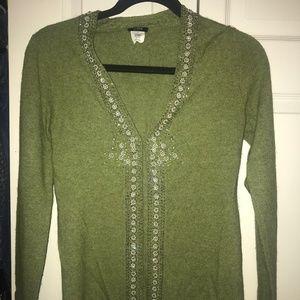 Green Merino Wool sweater with beading